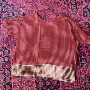 Made well printed top. Cream and red.